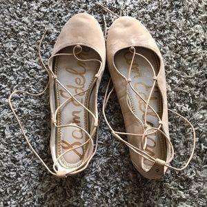 Sam Edelman Flynt Tan Laced Ballet Flats size 8.5